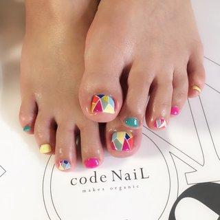 はじめましてのお客様☺︎☺︎ *  * colorful tile♡ #福岡#飯塚市#オーガニック#ネイルサロン#コードネイル#ネイルデザイン#ネイルアート#ジェルネイル#フットネイル#ペディキュア#ポップネイル#タイルネイル#美甲#フィルイン#ノンアセトン #nail#nails#nailart#naildesign#gelnails#instanails#footnail#pedicure#casualnail#popnail#codenail#네일#네일아트#네일스타그램 #夏 #リゾート #ライブ #デート #フット #ワンカラー #ジオメトリック #ステンドグラス #ショート #カラフル #ネオンカラー #ビビッド #ペディキュア #codenail_mari #ネイルブック