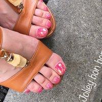 #夏 #フット #シンプル #ホログラム #ラメ #ピンク #ジェル #お客様 #YUKIKO*NAIL #ネイルブック