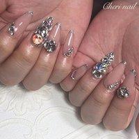 お客様#nail ♡ ヌーディ×キラキラ🤩✨ #nails #ネイル #sculpturednails #スカルプ #nailart #ネイルアート #Cherinail #広島 #広島ネイルサロン #swarovski #ビジューネイル #派手ネイル #ハンド #ビジュー #ベージュ #スカルプチュア #お客様 #cheri_nail #ネイルブック