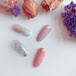 定額Aコース #夏 #オールシーズン #リゾート #オフィス #ハンド #ワンカラー #シースルー #大理石 #マリン #ミラー #ベージュ #ピンク #グレージュ #ジェル #pearly.shell.s #ネイルブック