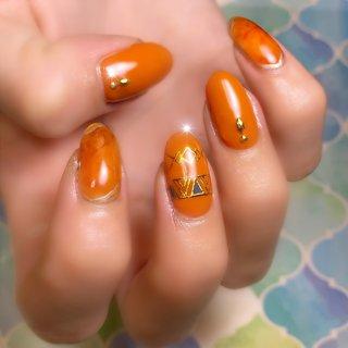 #オレンジ#天然石#大理石#エスニック#シンプル#夏#ネイティブ #エスニック #ネイティブ #ボヘミアン #大理石 #オレンジ #maple_ghost #ネイルブック