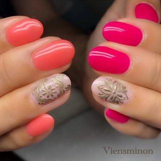 #モロッコネイル #タイルネイル #ジューシーネイル #オレンジ #ピンク #ワンカラー #viensminon #ネイルブック