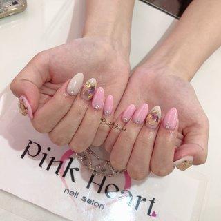 #ベビーピンク #乳白色  #金箔  #天然石ネイル  #スワロフスキー  #ちゅるんネイル  #agehagel #オールシーズン #ハンド #シンプル #ビジュー #ボヘミアン #大理石 #マリン #ショート #ホワイト #ベージュ #ピンク #ジェル #お客様 #PinkHeart #ネイルブック