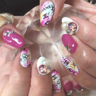 #女子力 #ブランド柄#シャネル#ホワイト#パープル#フラワー#お花 #フラワー #ブランド柄 #ホワイト #ピンク #パープル #ひぃちゃん #ネイルブック