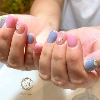 ピンク×ブルー♡ #夏 #旅行 #海 #リゾート #ハンド #シェル #スターフィッシュ #ショート #ピンク #ブルー #スモーキー #ジェル #お客様 #Mou nail #ネイルブック