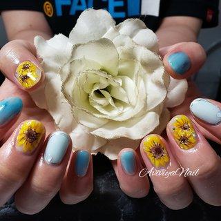 #ひまわりネイル #ひまわり #おはなネイル #花柄ネイル #花  #てがきお花 #てがきアート #夏 #海 #リゾート #浴衣 #ハンド #シンプル #フラワー #ミディアム #イエロー #ターコイズ #ブラウン #ジェル #お客様 #AYA★アヴィヴィヤ #ネイルブック