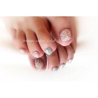 Foot nail design ✨ / #ニューネイル #ネイルデザイン #フットネイル #手描きネイル #夏ネイル #旅行 #女子会 #デート #アート #モロッカン #エスニック #ネイティブ #ボヘミアン #ジオメトリック #モノトーン #パステル #スモーキー #川越市的場〜private salon Soleil〜 #ネイルブック