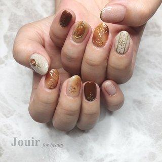 #ハンド #アンティーク #エスニック #ボヘミアン #べっ甲 #ベージュ #ブラウン #ゴールド #Jouir for beauty - hair nail eyelash- #ネイルブック
