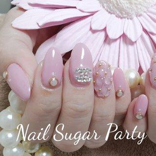 #キルティング #キルティングネイル  #ピンク #オールシーズン #バレンタイン #ライブ #デート #ハンド #ワンカラー #ビジュー #パール #ブランド柄 #キルティング #ロング #ピンク #ジェル #お客様 #Nail Sugar Party ~ネイルシュガーパーティ~ #ネイルブック