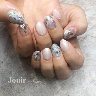 #ハンド #シェル #ステンドグラス #タイダイ #大理石 #ホワイト #グリーン #ターコイズ #Jouir for beauty - hair nail eyelash- #ネイルブック