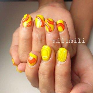 . . 夏が終わってしまう前に夏ネイルを大量更新🌞🌴🌺 . イエローとオレンジのぷっくりアート💛🧡 夏カラーが可愛すぎます☺︎ . . . #nails#summernails#longnails#shortnails#orangenails#yellownails#ネイル#大人ネイル#大人可愛いネイル#上品ネイル#可愛いネイル#シンプルネイル#オレンジネイル#イエローネイル#ぷっくりネイル#グミネイル#個性派ネイル#派手ネイル#夏ネイル#鹿児島#鹿屋#都城#日南#串間#志布志#志布志ネイル#志布志脱毛#milimili #夏 #ハンド #シンプル #ワンカラー #ハート #3D #ニュアンス #ショート #オレンジ #イエロー #milimili #ネイルブック