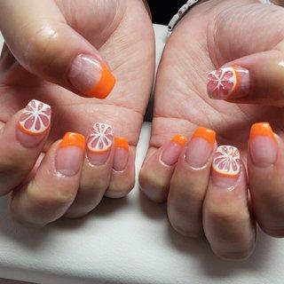 #フレンチネイル#カラーフレンチ#オレンジネイル#レモンネイル#フルーツネイル#フルーツデザイン #yoshimi1128 #ネイルブック