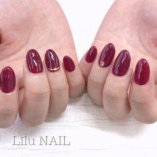 . #ワンカラー #シンプルネイル #プライベートネイルサロン  #金山ネイルサロン #nails  #gelnail #nailstagram #パーティー #デート #女子会 #ハンド #シンプル #ワンカラー #ボルドー #ジェル #お客様 #LiLu Nail*RIHO #ネイルブック