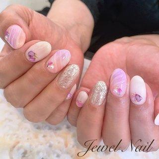 #ジュエルネイル#おさえめなカラーが可愛い #おさえめ人魚の鱗 #ハンド #シェル #ニュアンス #人魚の鱗 #ミラー #ミディアム #ホワイト #クリア #ピンク #ジェル #お客様 #JEWEL SALON total beauty【旧jewel nail】 #ネイルブック