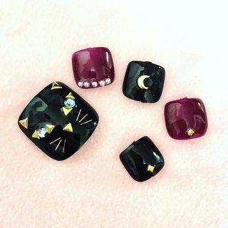 #ネコネイル #黒猫 #ハロウィン  #フットジェル #オールシーズン #フット #Nail Salon Brillante #ネイルブック
