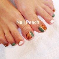 #べっ甲ネイル #Nail Peach #ネイルブック