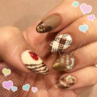 #過去ネイル #バレンタイン #チョコレート #チョコレートネイル #3d #ミラー #マット #冬 #バレンタイン #ハンド #ピーコック #デコ #マット #ミラー #ロング #ブラウン #スカルプチュア #Piko's Nail #ネイルブック