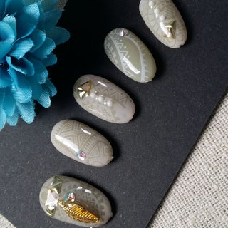 #エスニック #レトロ #ジェル #nail garden... #ネイルブック