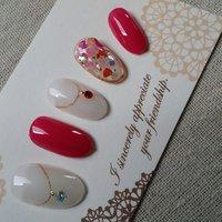 #ホログラム #クリア #ピンク #ビビッド #ジェル #nail garden... #ネイルブック