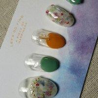 #ボタニカル #レトロ #オレンジ #グリーン #グレージュ #ジェル #nail garden... #ネイルブック