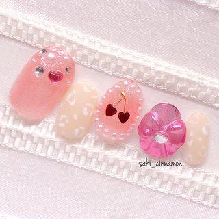 🍒✨🎀💗   #ネイル #ジェルネイル #ネイルアート #nail #nails #nailart #gelnail #福岡ネイル #福岡ネイルサロン #大牟田ネイル #美甲 #ガーリーネイル #パール #3D #ミラー #リボン #レオパード #ベージュ #ピンク #saki_cinnamon #ネイルブック