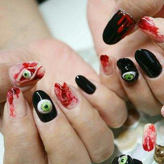 #グロネイル #傷ネイル #Halloween #ハロウィン #ベージュ #レッド #福山市ヴィヴィッドクイーン #ネイルブック