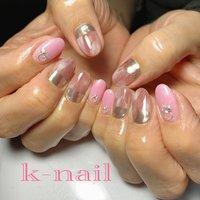 #ミラーネイル #ピンク#マーブル#くすみピンク#大人可愛いネイル #k.k.k.nail #ネイルブック