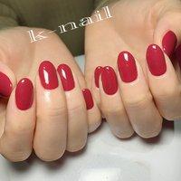 #ワンカラー#ピンク#赤#大人ネイル#大人可愛いネイル#シンプル #k.k.k.nail #ネイルブック