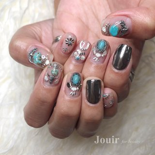 #ハンド #フェザー #エスニック #ネイティブ #ボヘミアン #クリア #ターコイズ #シルバー #Jouir for beauty - hair nail eyelash- #ネイルブック