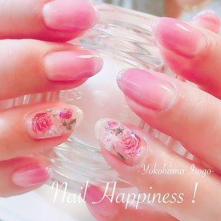 #シースルーフラワーネイル #バラ柄#薔薇ネイル #磯子ネイルサロン #Nail Happiness!(ネイルハピネス)*ささきまき #ネイルブック