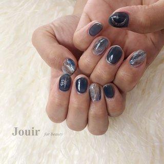 #ハンド #星 #大理石 #ニュアンス #マーブル #ホワイト #ネイビー #グレージュ #Jouir for beauty - hair nail eyelash- #ネイルブック