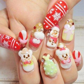 #Nailbook #冬 #クリスマス #ハンド #ラメ #ワンカラー #グラデーション #痛ネイル #キャラクター #3D #ノルディック #ミディアム #ロング #ホワイト #ピンク #レッド #グリーン #パステル #ジェル #お客様 #トータルビューティーサロンCarina #ネイルブック