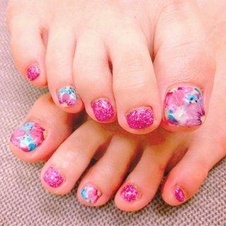 #花 #手描き #春 #フット #ラメ #フラワー #ピンク #ジェル #わたあめ。 #ネイルブック