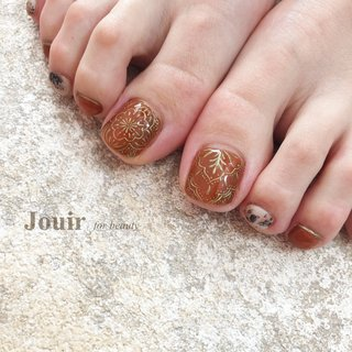 #フット #アンティーク #ボヘミアン #エスニック #マット #レオパード #ボルドー #ブラウン #グレージュ #Jouir for beauty - hair nail eyelash- #ネイルブック