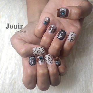 ウエスタン🌵 #ハンド #フェザー #アンティーク #ネイティブ #レオパード #ブラウン #グレージュ #ブラック #Jouir for beauty - hair nail eyelash- #ネイルブック