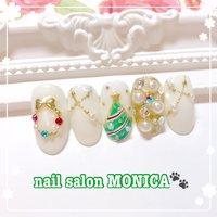クリスマスネイル🎄 #クリスマスネイル #冬 #クリスマス #ハンド #ホワイト #ゴールド #ジェル #nail salon MONICA 🐾 #ネイルブック