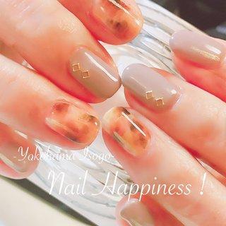 #べっ甲ネイル #大人上品ネイル #スモーキーベージュ #磯子ネイルサロン #秋 #冬 #ワンカラー #べっ甲 #グレージュ #Nail Happiness!(ネイルハピネス)*ささきまき #ネイルブック