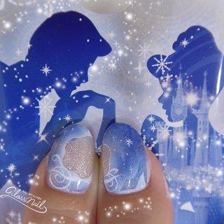 #おとなかわいい #シンデレラネイル  #シンデレラ城 #シンデレラ #ディズニーネイル #キャラクターネイル #手描きアート#エアブラシアート#ウェディングネイル #ブライダルネイル #ガラスの靴#キラキラ#ディズニー#cinderella #ブルーネイル #冬 #オールシーズン #クリスマス #ブライダル #ハンド #くりぬき #シースルー #ステンドグラス #タイダイ #雪の結晶 #ミディアム #水色 #ブルー #ネイビー #ジェル #お客様 #glossnail_mana #ネイルブック