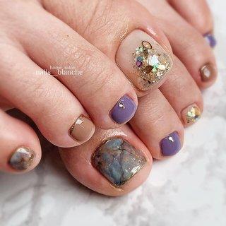 #フット #ラメ #ボヘミアン #大理石 #nails___blanche / yuka #ネイルブック