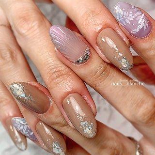 #ハンド #シェル #人魚の鱗 #ベージュ #ピンク #パープル #nails___blanche / yuka #ネイルブック