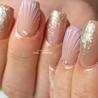 #ハンド #シンプル #ラメ #シェル #人魚の鱗 #nails___blanche / yuka #ネイルブック