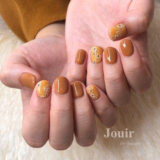 #ハンド #シンプル #ワンカラー #フラワー #レース #オレンジ #イエロー #ブラウン #Jouir for beauty - hair nail eyelash- #ネイルブック