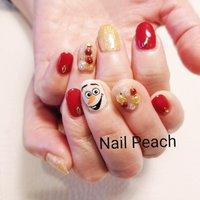 #クリスマスネイル #オラフネイル #Nail Peach #ネイルブック