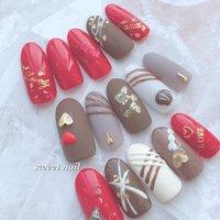 #チョコレートネイル #バレンタイン #冬 #冬ネイル #冬 #お正月 #バレンタイン #ハンド #レッド #ブラウン #グレージュ #ネイルチップ #sweetネイル&スクール #ネイルブック