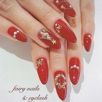 #クリスマス #ハンド #ラメ #ワンカラー #パール #ロング #レッド #ゴールド #ジェル #お客様 #fairy nails & eyelash フェアリーネイルズ&アイラッシュ #ネイルブック