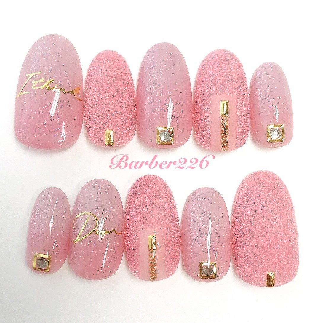 #モコモコ #ベルベットネイル #ピンク #pink #ピンク #Barber226_nail #ネイルブック