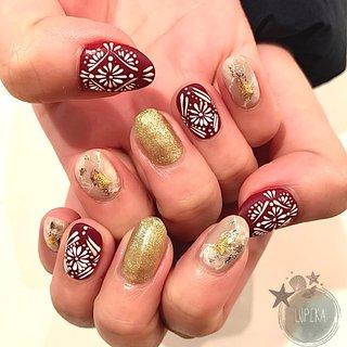 nuance × embroidery #秋 #冬 #旅行 #パーティー #ハンド #ラメ #ワンカラー #ニュアンス #アイシング #ショート #ボルドー #グレージュ #ゴールド #ジェル #お客様 #LUPIKA_MAMI #ネイルブック