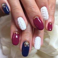 #Nailbook #冬 #ハンド #ニット #ホワイト #レッド #ブルー #お客様 #miyu_yuura #ネイルブック