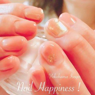 #結晶ネイル#ミラーネイル #グラデーションネイル #磯子ネイルサロン #冬 #オフィス #デート #女子会 #グラデーション #雪の結晶 #ミラー #オレンジ #メタリック #Nail Happiness!(ネイルハピネス)*ささきまき #ネイルブック