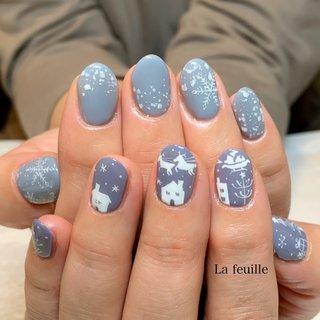 #冬 #クリスマス #ラメ #ノルディック #雪の結晶 #水色 #ブルー #パープル #ジェル #お客様 #Lafeuille(ラ・フィーユ) #ネイルブック